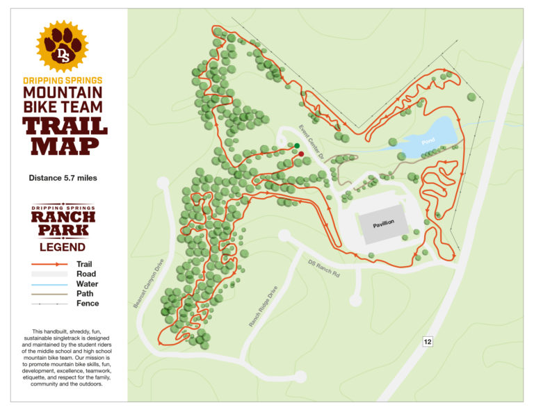 Mountain Bike Trail At Ranch Park In Dripping Springs, Texas on